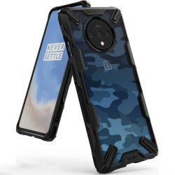 Ringke Fusion X design tartós PC Tok TPU Bumper OnePlus 7T Pro Camo Fekete (XDOP0003) telefontok hátlap tok