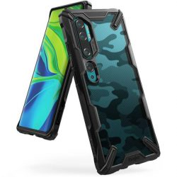 Ringke Fusion X design tartós PC Tok TPU Bumper Xiaomi Mi Note 10 / Mi Note 10 Pro / Mi CC9 Pro Camo Fekete (XDXI0005) telefontok hátlap tok