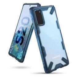Ringke Fusion X tartós PC Tok TPU Bumper Samsung Galaxy S20 kék (FUSG0044) telefontok tok