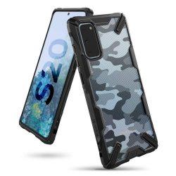 Ringke Fusion X design tartós PC Tok TPU bumper Samsung Galaxy S20 Camo Fekete (XDSG0025)
