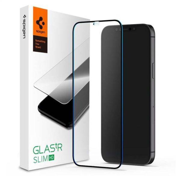 Edzett Üveg Spigen Glass Fc iPhone 12 Pro / iPhone 12 Fekete üvegfólia