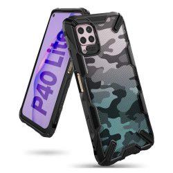 Ringke Fusion X design tartós PC Tok TPU bumper Huawei P40 Lite Camo Fekete (XDSG0033)
