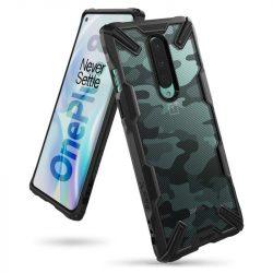 Ringke Fusion X design tartós PC Tok TPU Bumper OnePlus 8 Camo Fekete (XDOP0004) telefontok