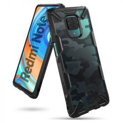 Ringke Fusion X design tartós PC Tok TPU Bumper Xiaomi redmi Note 9 Pro / redmi Note 9S fekete (XDXI0008) telefontok
