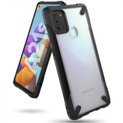 Ringke Fusion X tartós PC Tok TPU Bumper Samsung Galaxy A21S fekete (FUSG0059) telefontok