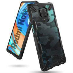 Ringke Fusion X design tartós PC Tok TPU Bumper Xiaomi redmi 10X 4G / Xiaomi redmi Note 9 Camo Fekete (XDXI0016) telefontok