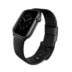 UNIQ bar Mondain Apple Watch 44MM Series 4 geniune bőr fekete / éjfekete