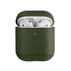 UNIQ telefontok Terra 1.2 AirPods gént. Valódi bőr olíva / olíva telefontok hátlap tok