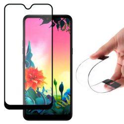Wozinsky edzett üveg tempered glass tempered glass tempered glass FullGlue Super Tough képernyővédő fólia teljes képernyős kerettel tokbarát LG K50S fekete telefontok tok