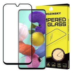 Wozinsky edzett üveg tempered glass tempered glass tempered glass Teljes Glue Super Tough képernyővédő fólia teljes képernyős kerettel tokbarát Samsung Galaxy A51 fekete telefontok hátlap tok