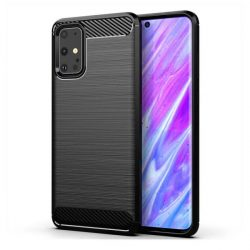 Carbon tok Rugalmas tok TPU tok Samsung Galaxy S20 Plus fekete telefontok hátlap tok