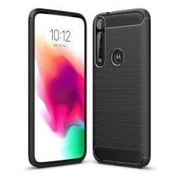 Carbon tok Rugalmas tok TPU tok Motorola One Macro fekete telefontok hátlap tok