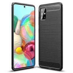 Carbon tok Rugalmas tok TPU tok Samsung Galaxy A51 fekete telefontok hátlap tok