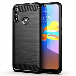Carbon tok Rugalmas tok TPU tok Motorola Moto E6 Plus fekete telefontok tok