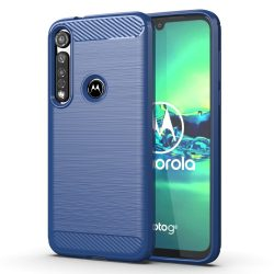 Carbon tok Rugalmas tok TPU tok Motorola G8 Plus kék telefontok tok