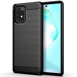Carbon tok Rugalmas Cover TPU tok Samsung Galaxy S10 Lite fekete