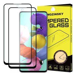 Wozinsky 2x edzett üveg Teljes Glue Super Tough képernyővédő fólia Teljes Coveraged kerettel Case-barát Samsung Galaxy A51 fekete