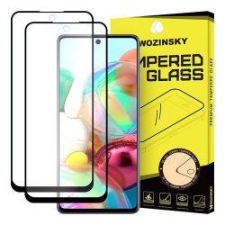 Wozinsky 2x edzett üveg FullGlue Super Tough képernyővédő fólia Teljes Coveraged kerettel Case-barát Samsung Galaxy A71 fekete