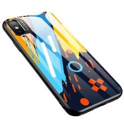 Színes üveg tok Tartós burkolat edzett üveg tok és a kamera védő iPhone XR minta 1