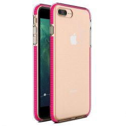 Tavaszi tok világos TPU gél védőburkolat színes kerettel iPhone 8 Plus / iPhone 7 Plus világos rózsaszín