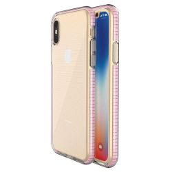 Tavaszi tok világos TPU gél védőburkolat színes kerettel iPhone XS / iPhone X világos rózsaszín