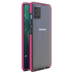 Tavaszi tok világos TPU gél védőburkolat színes kerettel Samsung Galaxy A51 világos rózsaszín
