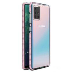Tavaszi tok világos TPU gél védőburkolat színes kerettel Samsung Galaxy A71 világos rózsaszín