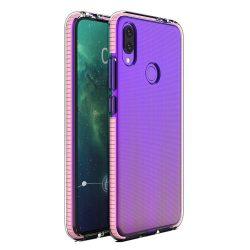 Tavaszi tok világos TPU gél védőburkolat színes kerettel Huawei P Intelligens 2019 halvány rózsaszín