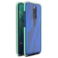 Tavaszi tok világos TPU gél védőburkolat színes kerettel Huawei Mate 20 Lite menta