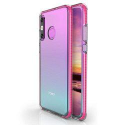 Tavaszi tok világos TPU gél védőburkolat színes kerettel Huawei P30 Lite rózsaszín