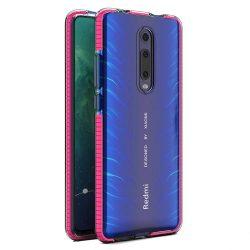 Tavaszi tok világos TPU gél védőburkolat színes kerettel Xiaomi Mi 9T / Xiaomi Mi 9T Pro rózsaszín