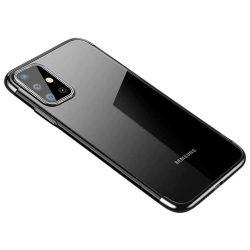 Clear Color Gel tok TPU Galvanizálás keret Cover Samsung Galaxy A71 fekete