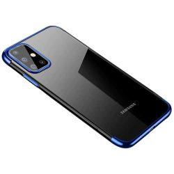 Clear Color Gel tok TPU Galvanizálás keret Cover Samsung Galaxy A71 kék