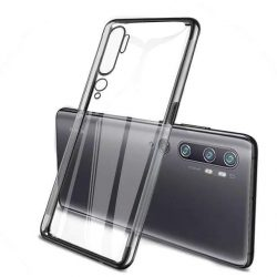 Clear Color Gel tok TPU Galvanizálás keret védő Xiaomi Mi Note 10 / Mi Note 10 Pro / Mi CC9 Pro fekete