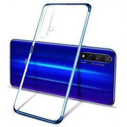 Clear Color Gel tok TPU galvanizált keret tok Huawei Nova 5T / Honor 20 / Honor 20 Pro / Honor 20S kék telefontok