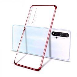 Clear Color Gel tok TPU galvanizált keret tok Huawei Nova 5T / Honor 20 / Honor 20 Pro / Honor 20S piros telefontok