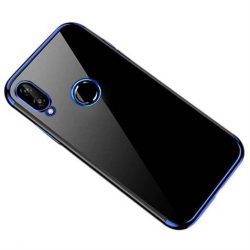 Clear Color Gel tok TPU galvanizált keret tok Huawei P smart 2019 kék telefontok