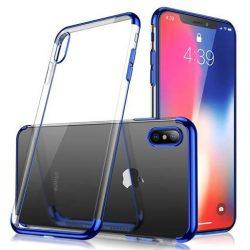 Clear Color Gel tok TPU galvanizált keret tok iPhone XS / iPhone X kék telefontok