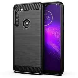 Carbon tok Rugalmas Cover TPU tok Motorola Moto G8 Teljesítmény fekete