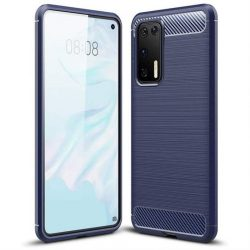 Carbon tok Rugalmas tok TPU tok Huawei P40 Pro kék telefontok