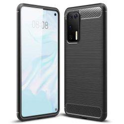 Carbon tok Rugalmas Cover TPU tok Huawei P40 fekete