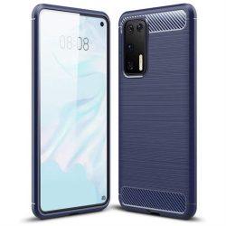 Carbon tok Rugalmas tok TPU tok Huawei P40 kék telefontok