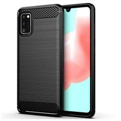 Carbon tok Rugalmas Cover TPU tok Samsung Galaxy A41 fekete