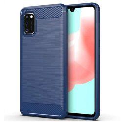 Carbon tok Rugalmas Cover TPU tok Samsung Galaxy A41 kék