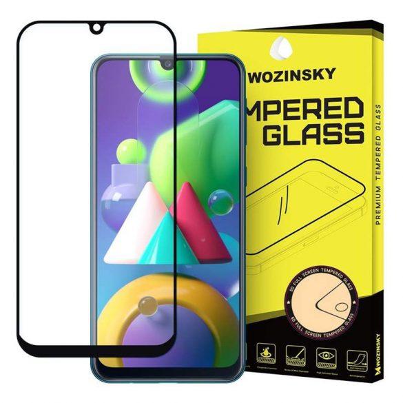 Wozinsky edzett üveg tempered glass FullGlue Super Tough képernyővédő fólia teljes képernyős kerettel tokbarát Samsung Galaxy M21 fekete üvegfólia