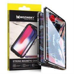 Wozinsky Teljes Mágneses tok Full Body Első és hátsó borító beépített üveg Huawei P40 Lite / Nova 7i / Nova 6 SE fekete-áttetsző telefontok