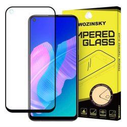 Wozinsky edzett üveg tempered glass FullGlue Super Tough képernyővédő fólia teljes képernyős kerettel tok barát Huawei P40 Lite E fekete üvegfólia
