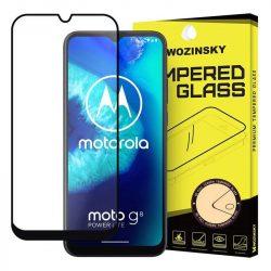 Wozinsky edzett üveg tempered glass Teljes Glue Super Tough képernyővédő fólia teljes képernyős kerettel tokbarát Motorola Moto G8 Teljesítmény Lite fekete üvegfólia