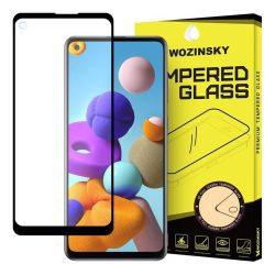 Wozinsky edzett üveg tempered glass FullGlue Super Tough képernyővédő fólia teljes képernyős kerettel tokbarát Samsung Galaxy A21S fekete üvegfólia