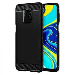 Carbon tok Rugalmas tok TPU tok Xiaomi redmi 10X 4G / Xiaomi redmi Note 9 fekete telefontok